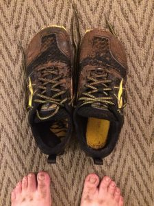 Red Loop Muddy Shoes