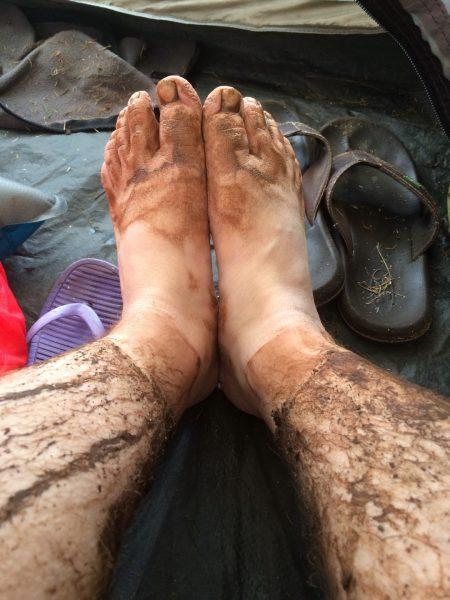 Yellow Loop Muddy Legs and Feet